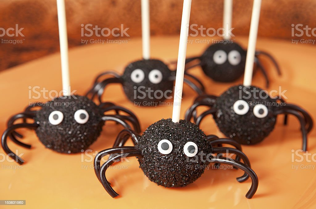 Spider cake pops royalty-free stock photo
