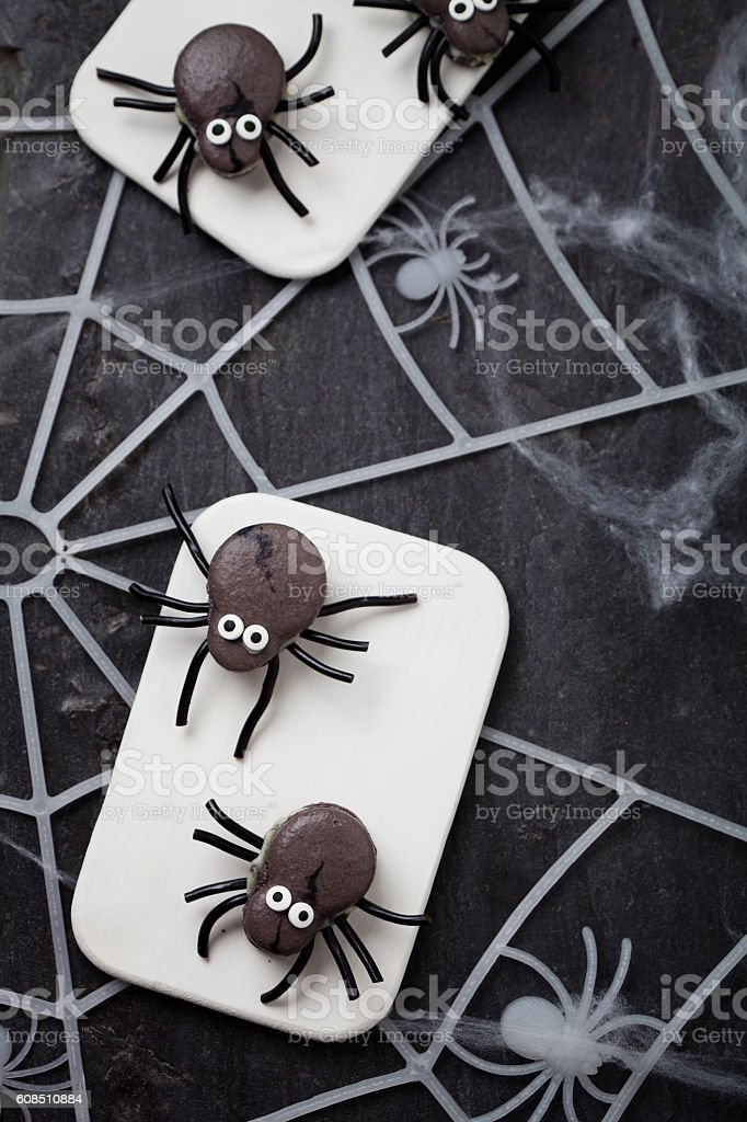 Spider macaroons stock photo