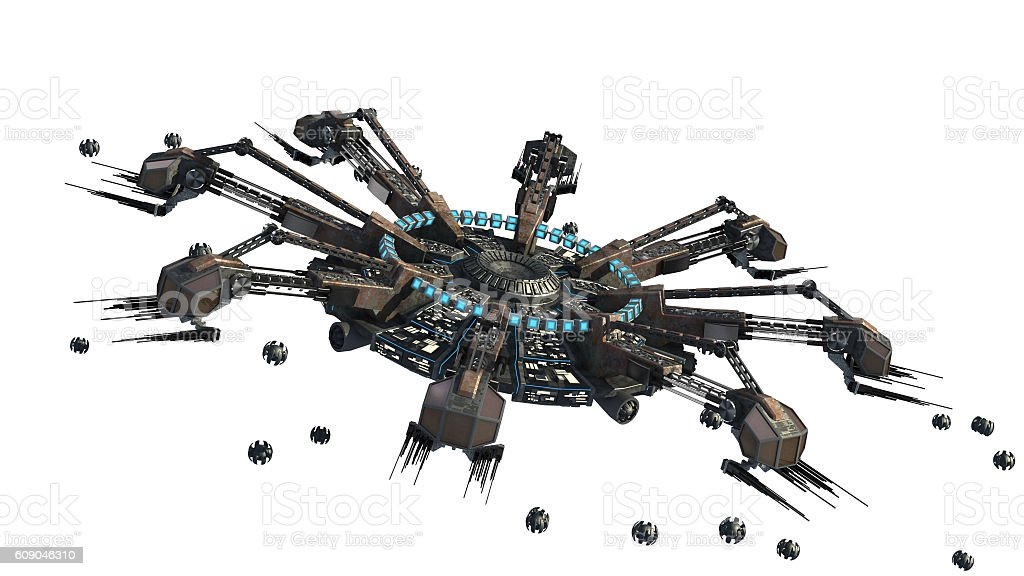 Spider shaped UFO stock photo