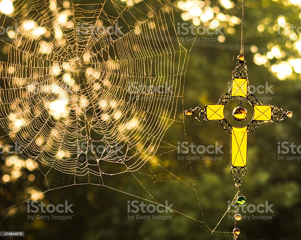 Spider Web With Cross stock photo
