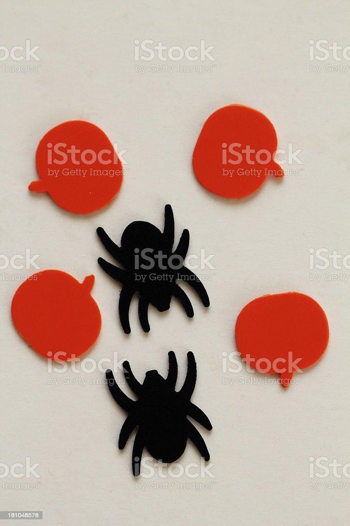 Spiders Pumpkins Confetti Halloween royalty-free stock photo
