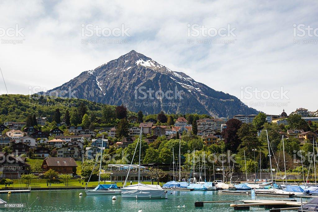 Spiez bay with yachts and boats, Spiez, Switzerland stock photo
