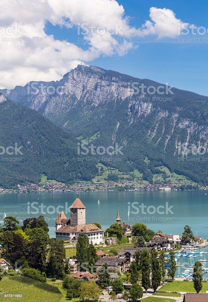 Spiez castle in Switzerland stock photo
