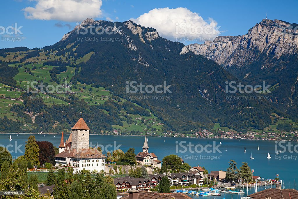 Spiez castle stock photo