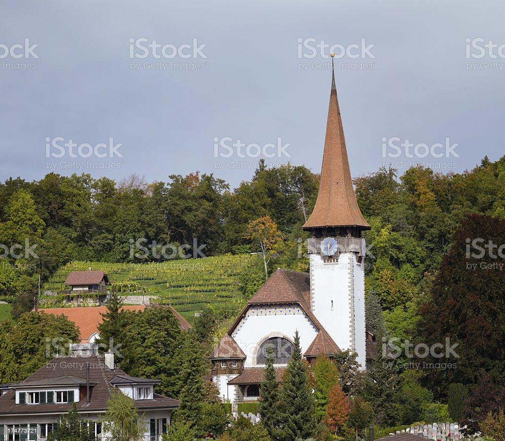 Spiez Hillside Church Switzerland stock photo