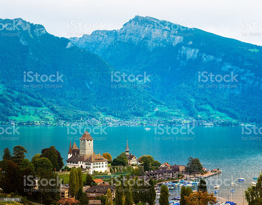 Spiez with Lake Thun Switzerland stock photo