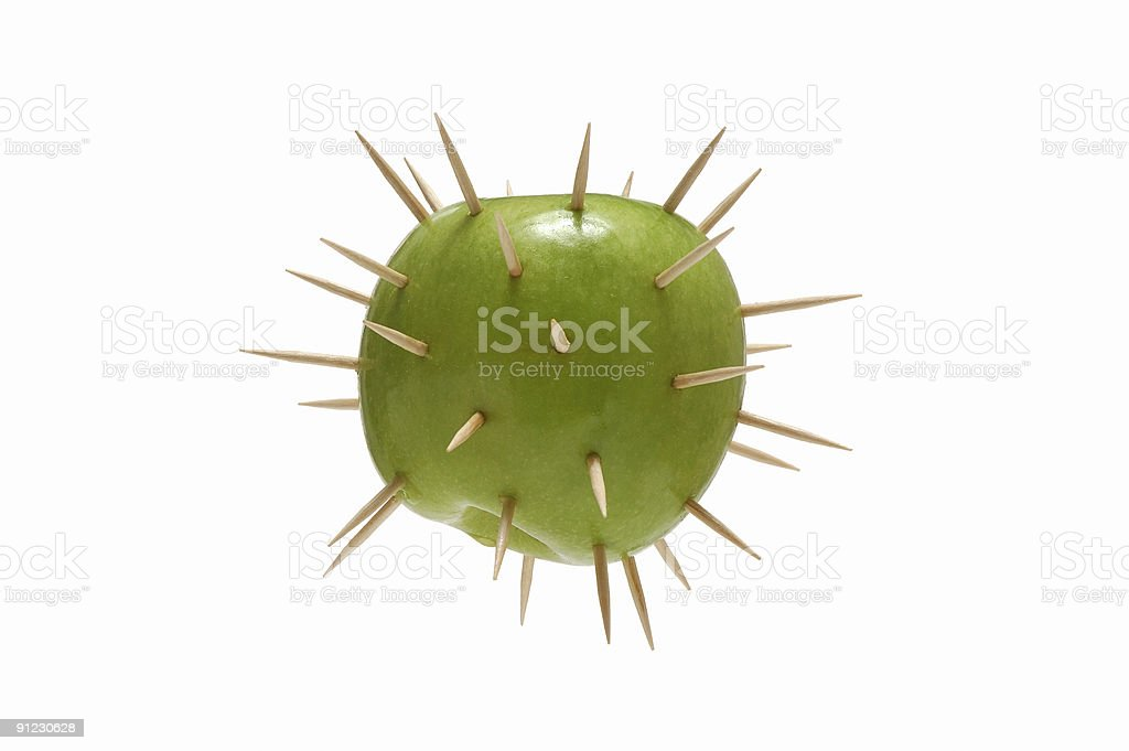 Spiked green apple royalty-free stock photo