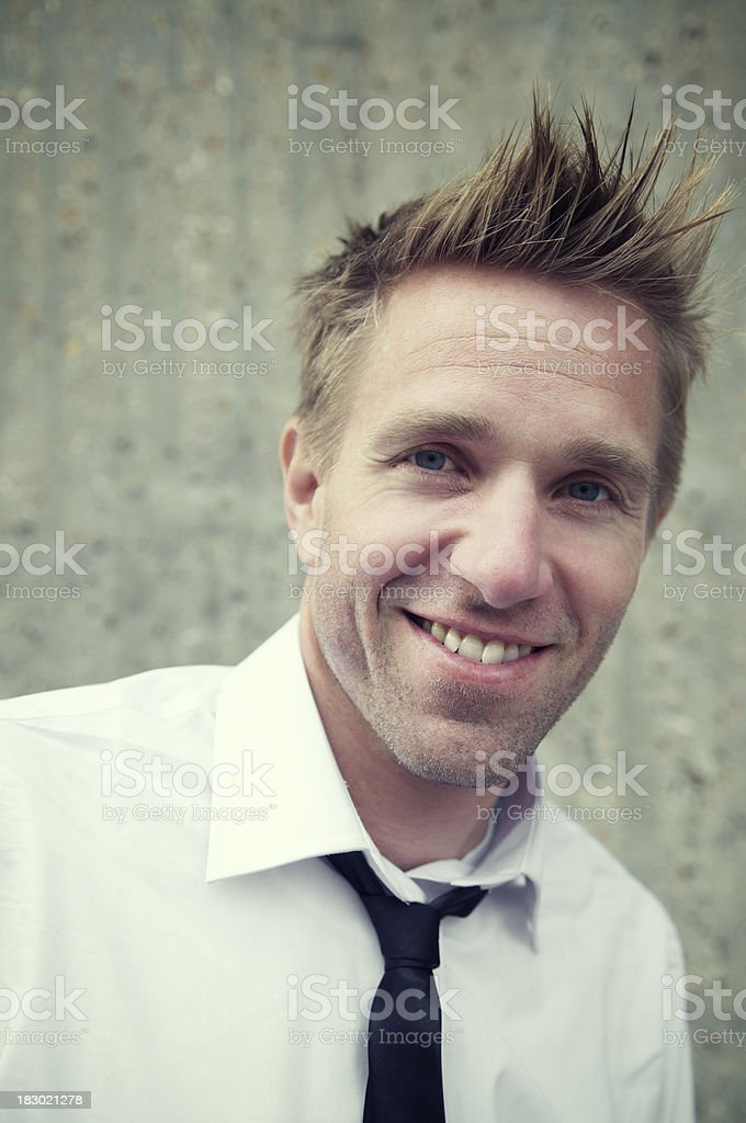 Spiky-Hair Guy Smiles w Shirt and Tie stock photo