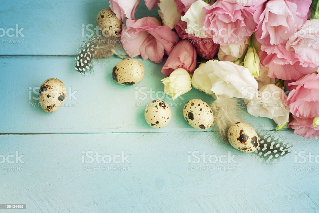 A spilled bouquet of eustoma flowers stock photo