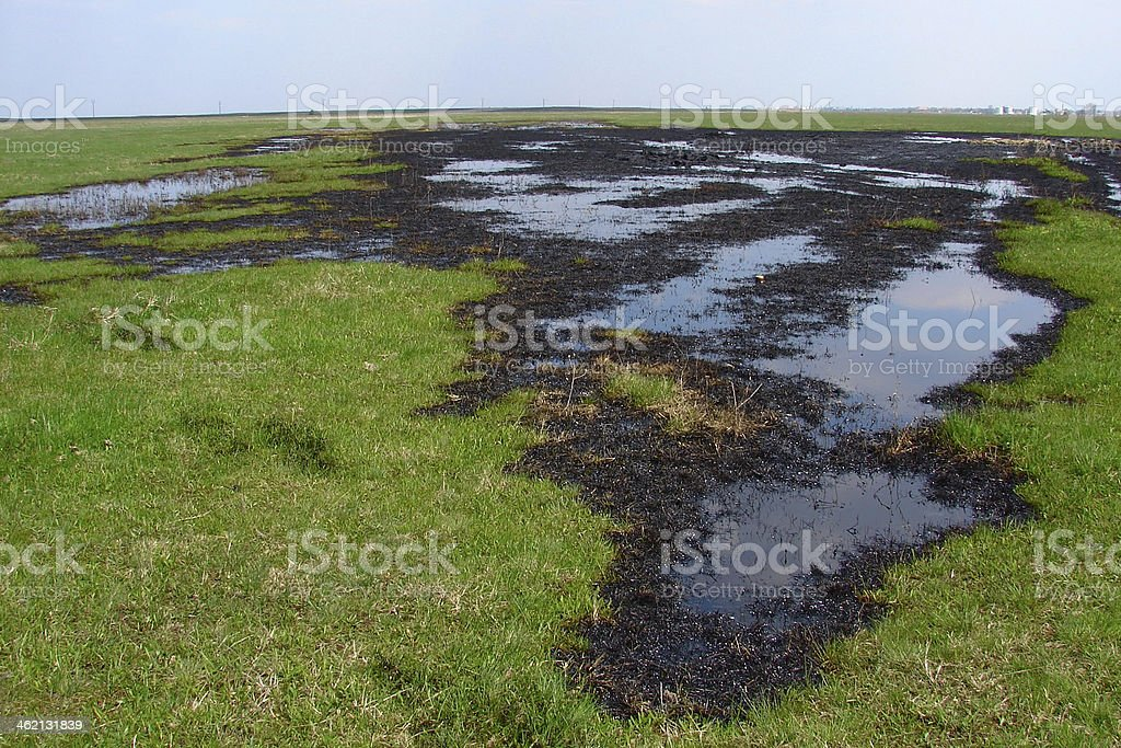 Spilled crude oil on field - nature polution stock photo