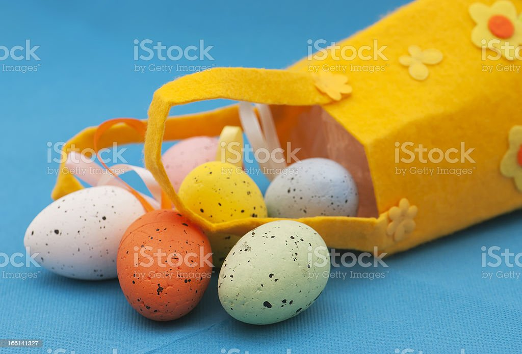 Spilled easter eggs royalty-free stock photo