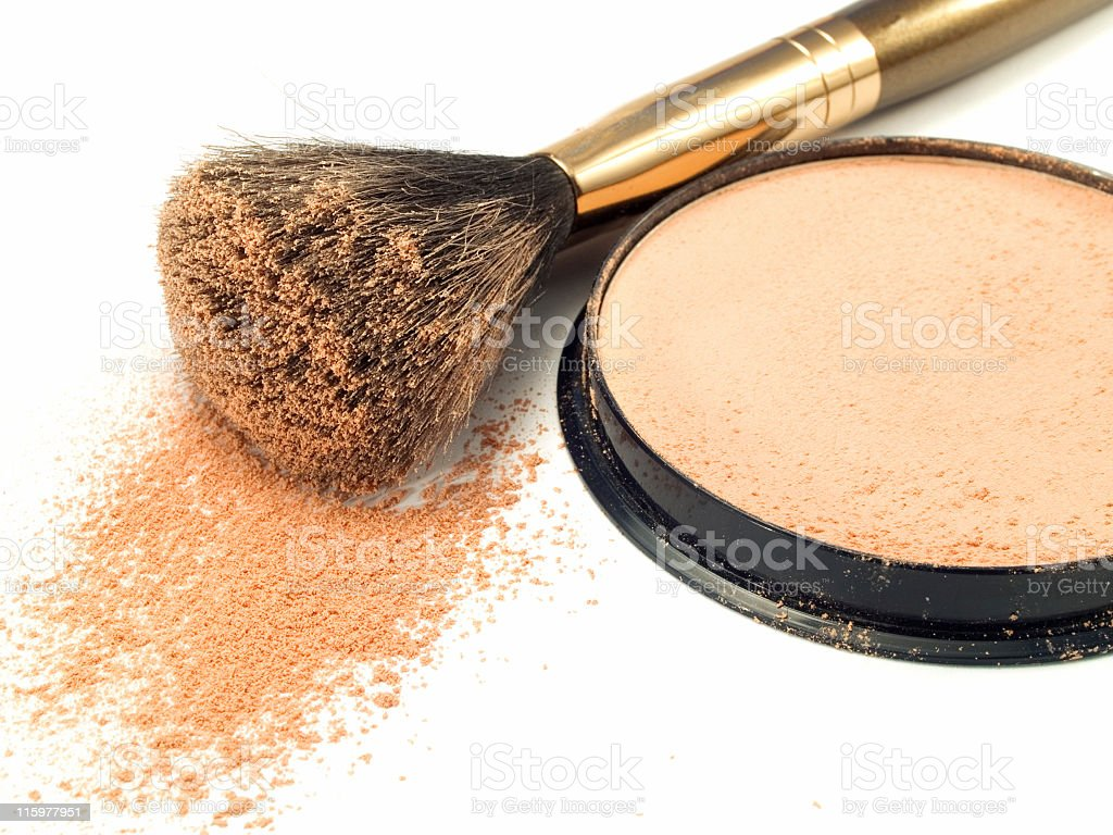 Spilled face powder on a brush royalty-free stock photo