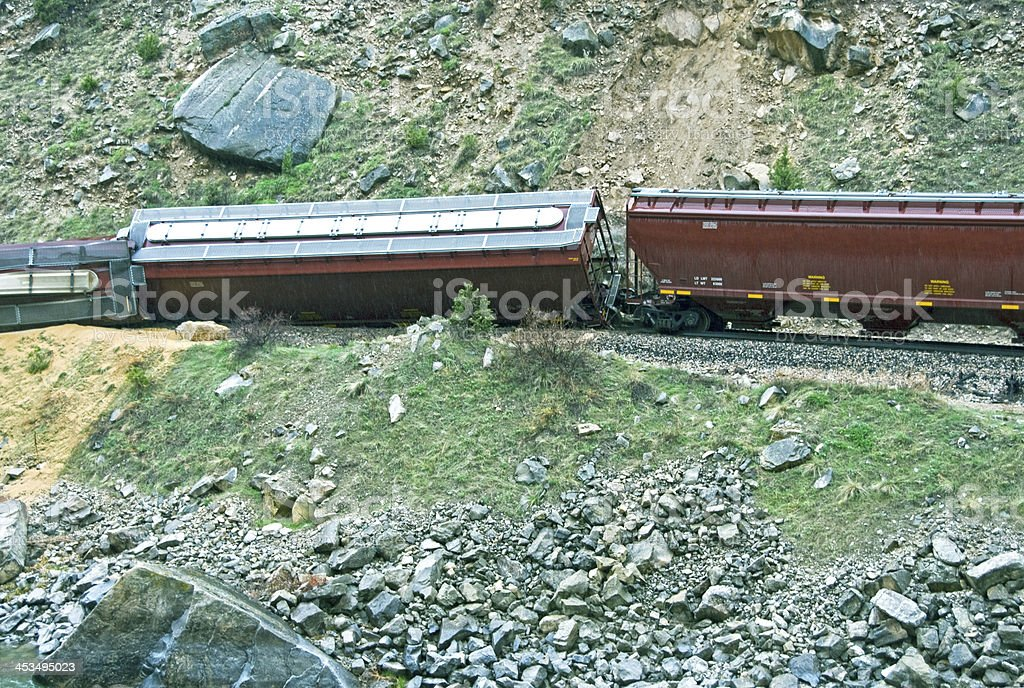 Spilled grain from train derailed by landslide in Wyoming stock photo