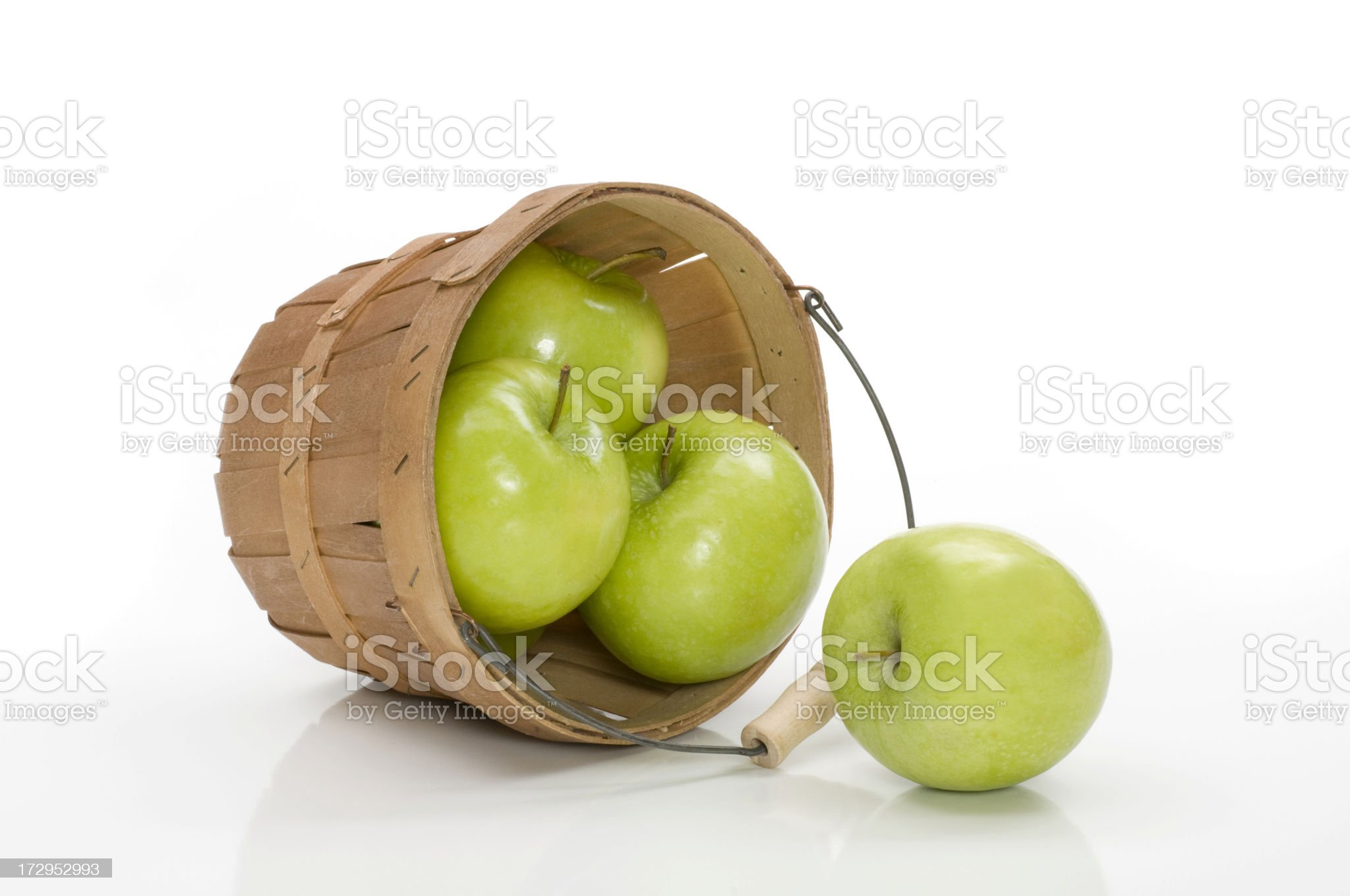 spilled green apples from basket royalty-free stock photo