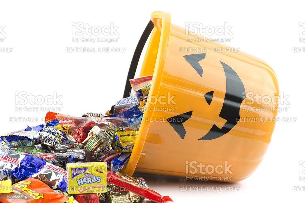Spilled halloween bucket stock photo