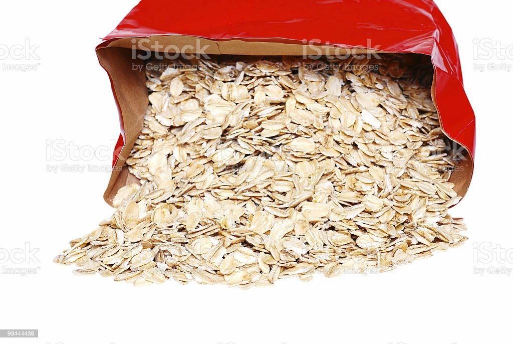spilled large flake oatmeal royalty-free stock photo