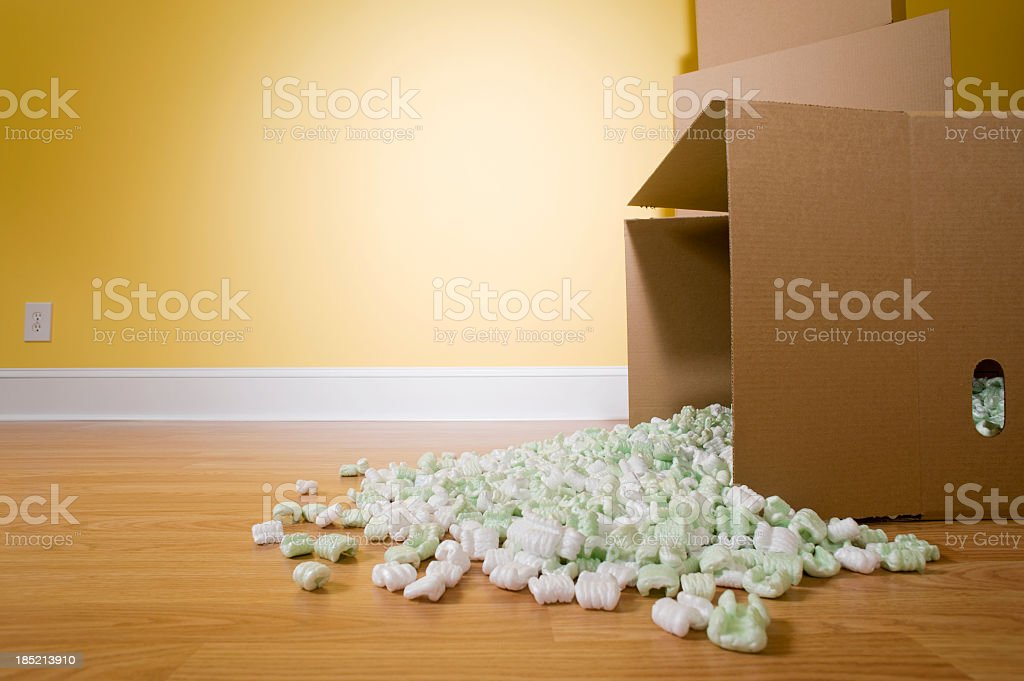 Spilled Packing Peanuts stock photo