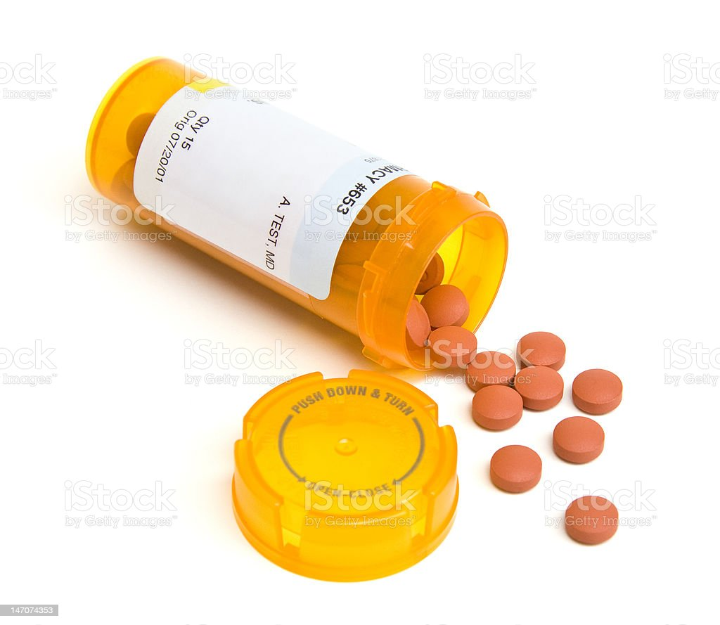 Spilled Pill Bottle Isolated royalty-free stock photo