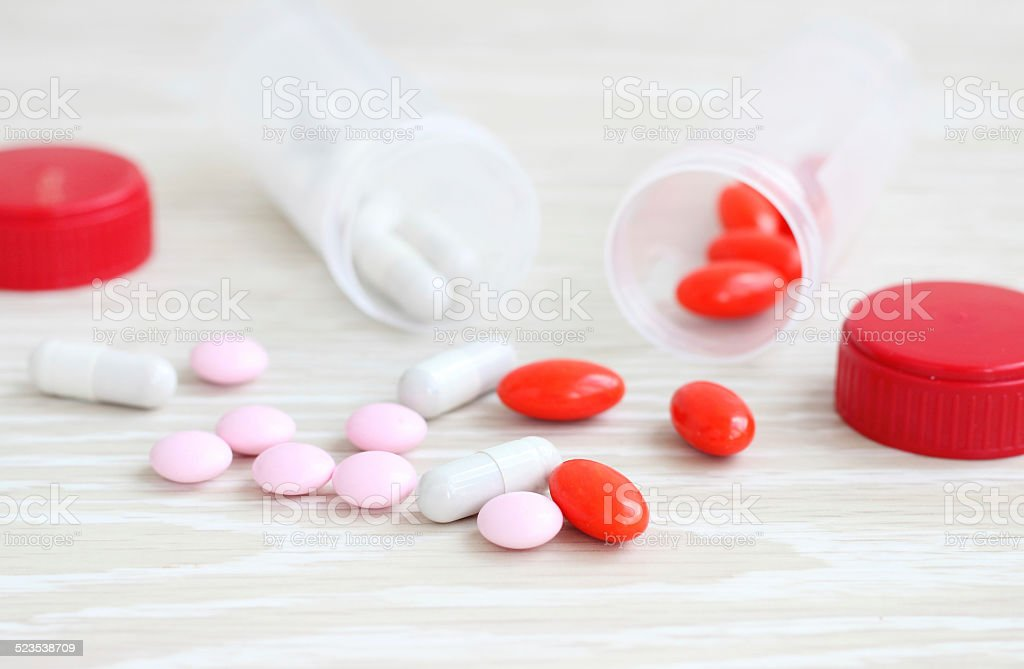 spilled pills medicine stock photo
