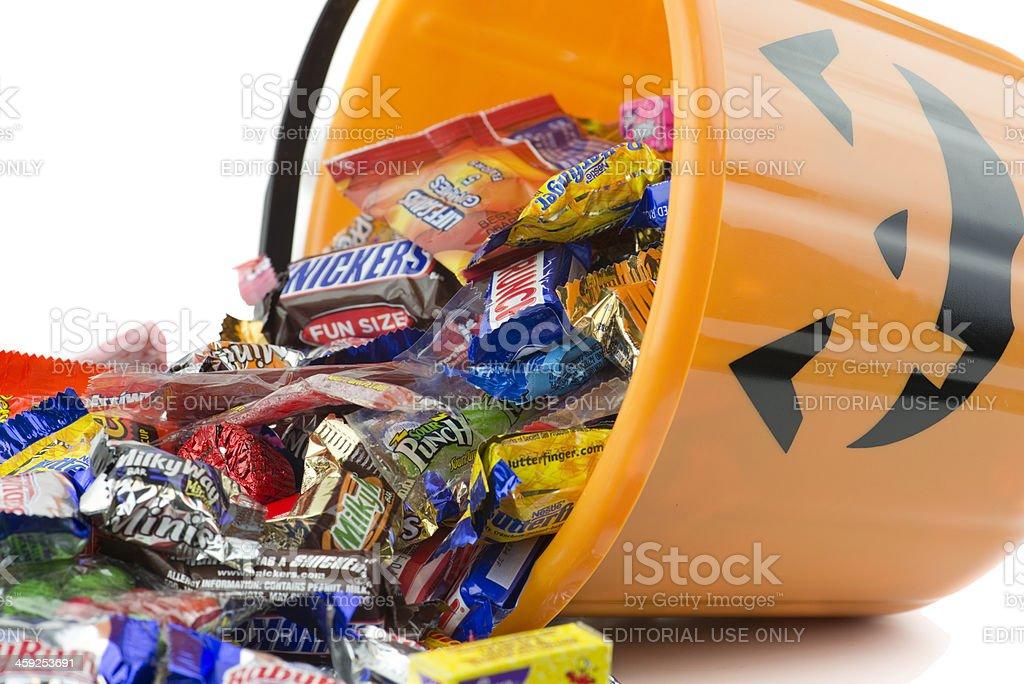 Spilled plastic orange pumpkin halloween bucket stock photo