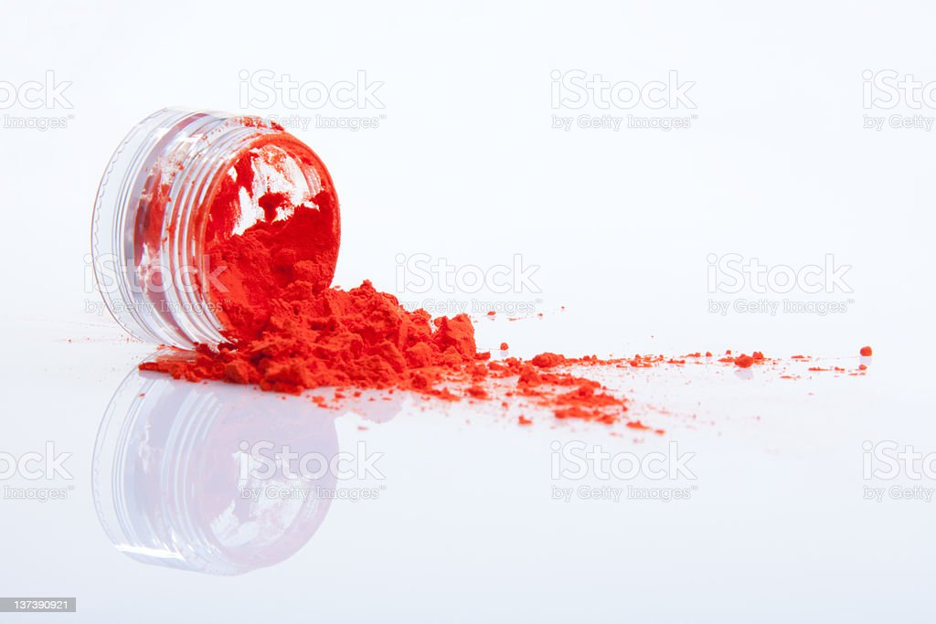 spilled red makeup powder royalty-free stock photo