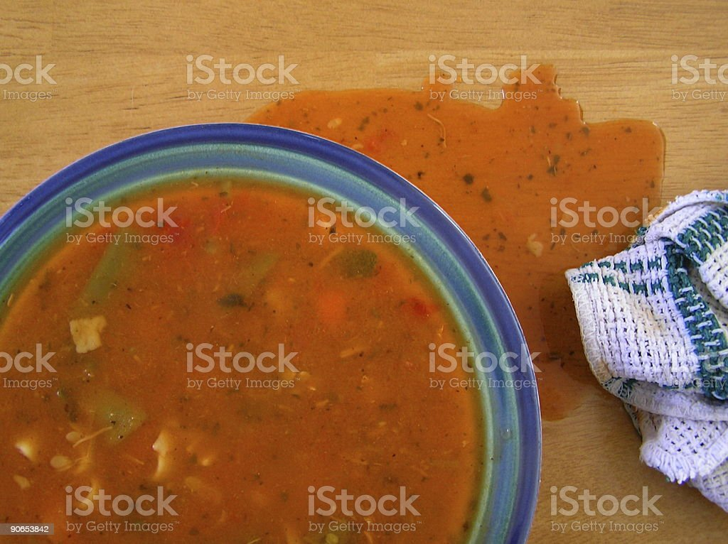 Spilled Soup & Rag stock photo