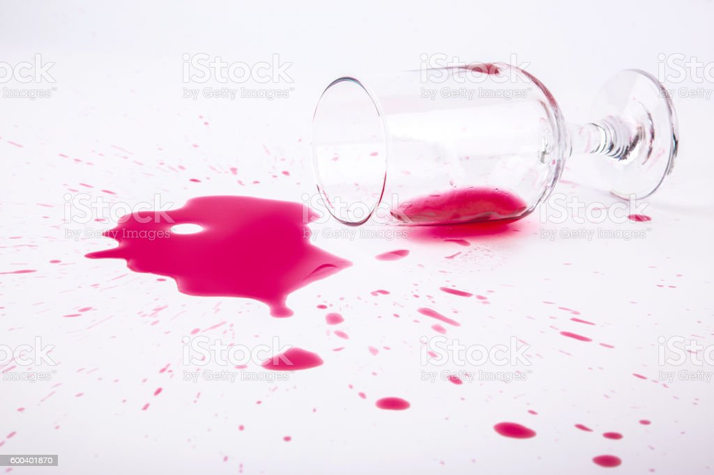Spilled wine glass stock photo