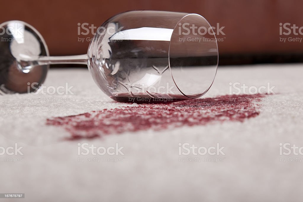 Spilled Wine in Living Room stock photo