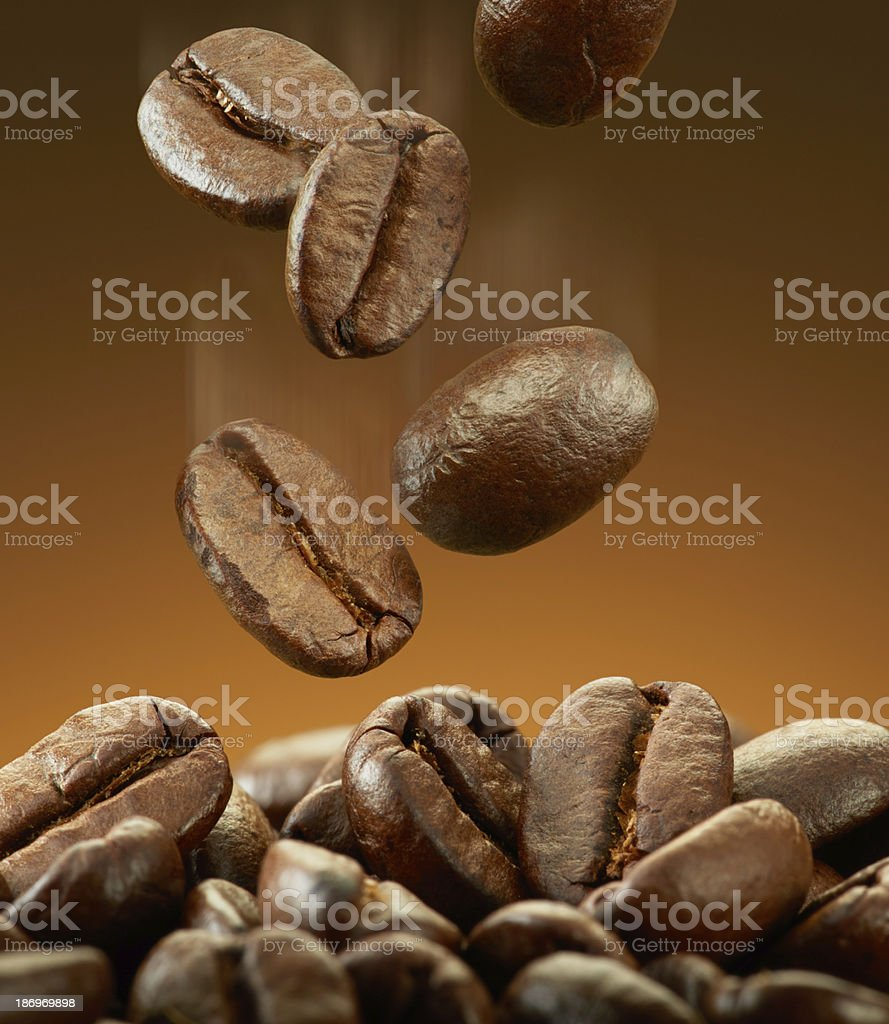 spilling coffee beans stock photo