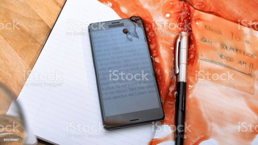 Spilling coffee on diary stock photo
