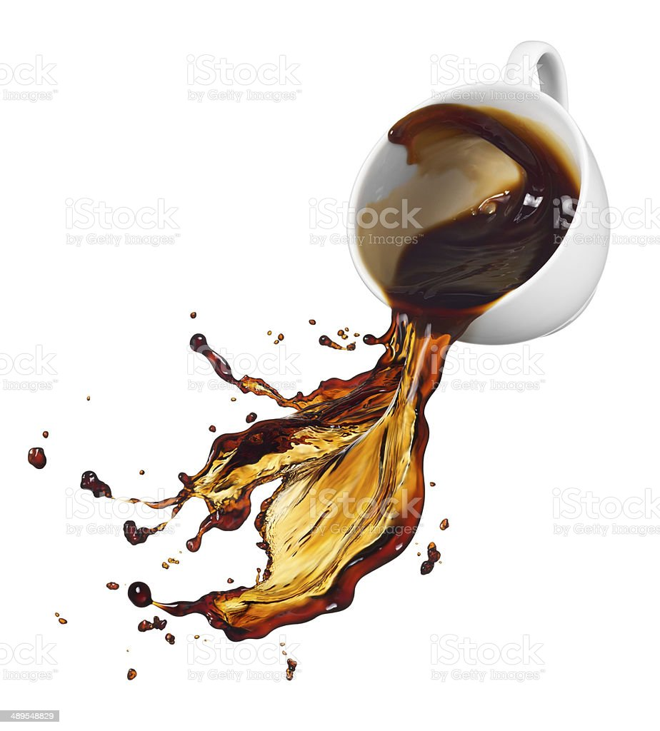 spilling coffee stock photo