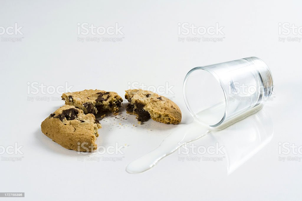 Spilt milk, cookie crumbles royalty-free stock photo