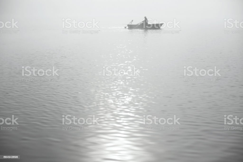 Spin fishing in Solina Lake stock photo
