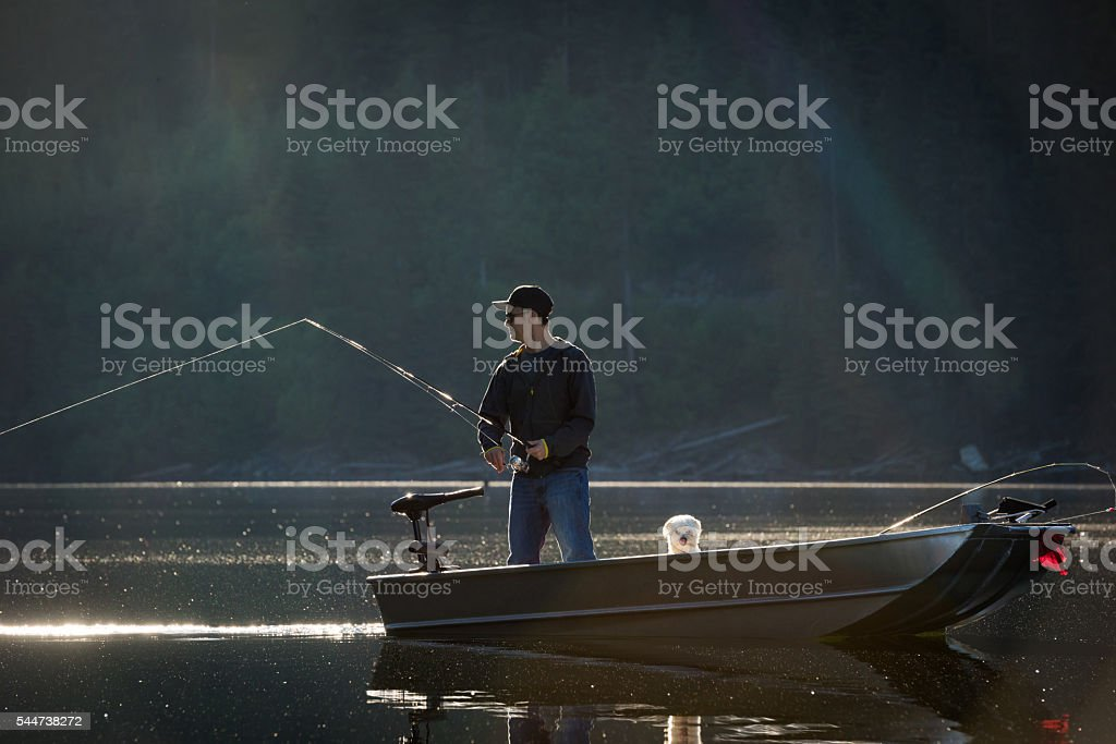 Spin fishing stock photo