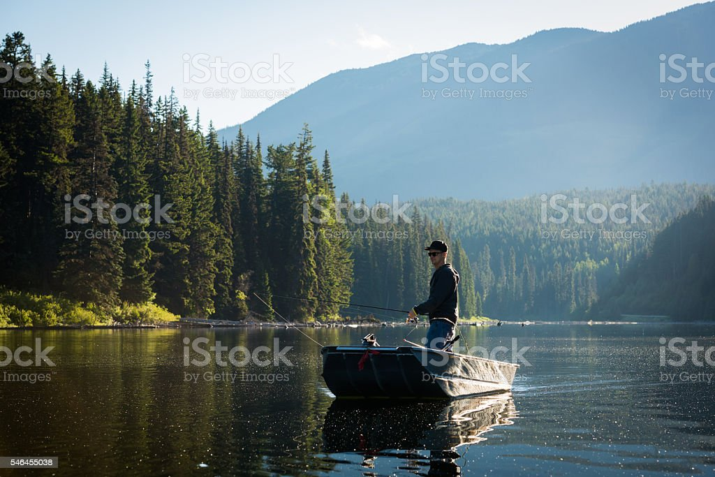 Spin fishing stock photo