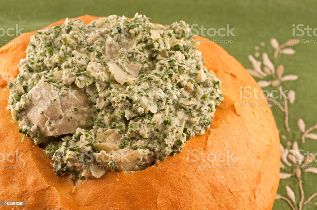 spinach and artichoke dip stock photo