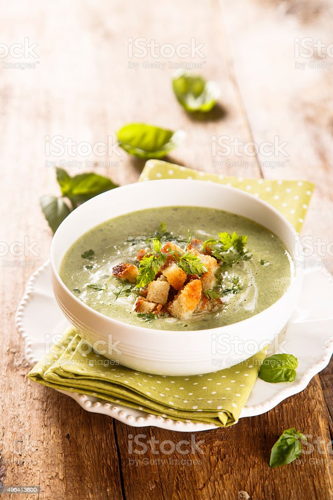 Spinach and basil soup stock photo