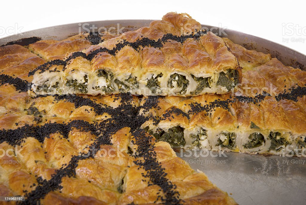 Spinach and cheese pie (XXXL) royalty-free stock photo