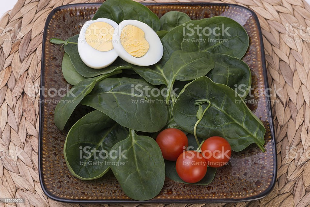 spinach and eggs salad royalty-free stock photo