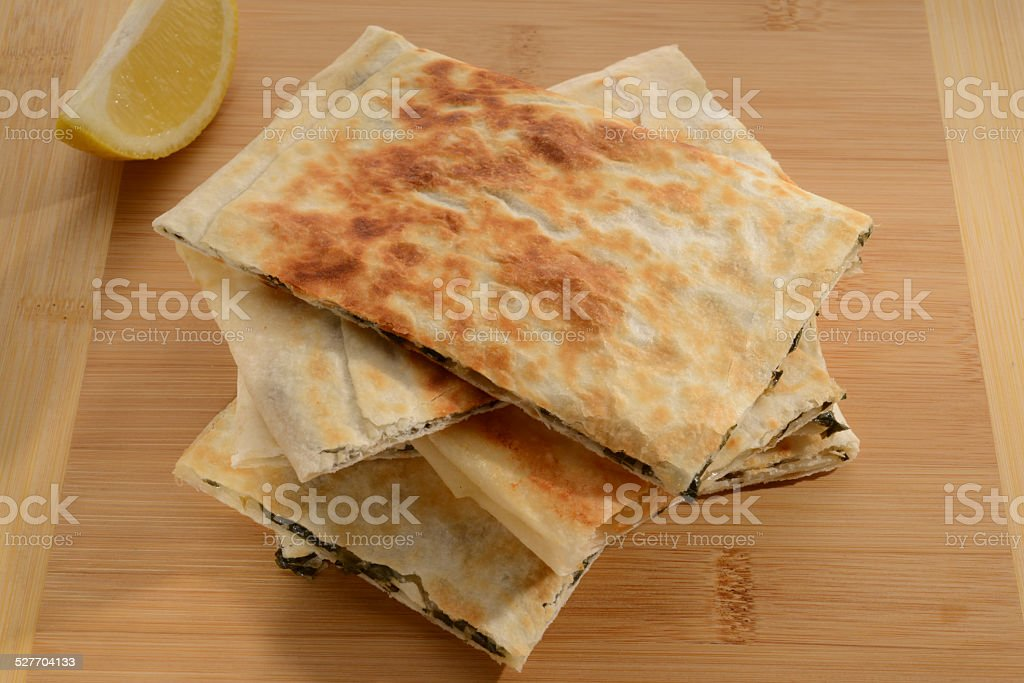 Spinach And Feta Cheese Gozleme stock photo