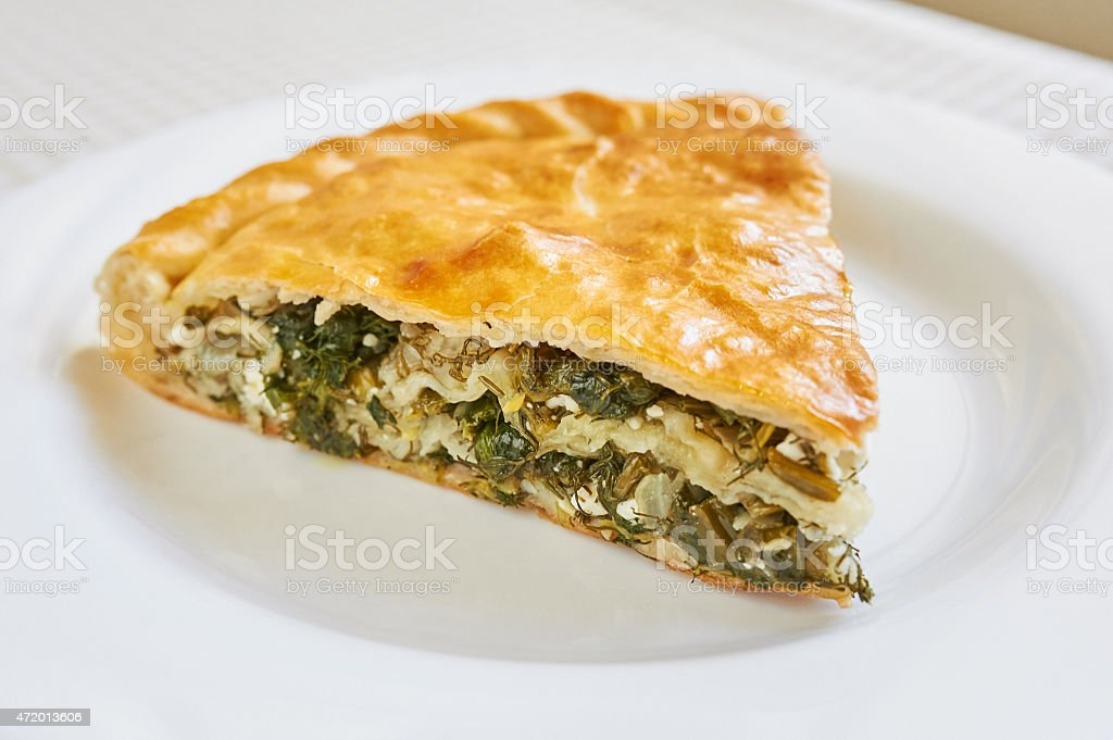 Spinach and feta pie in filo pastry, spanakopita. stock photo