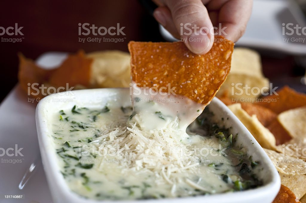 Spinach and parmesan cheese dip stock photo