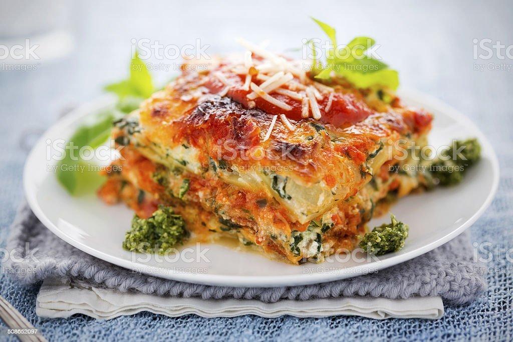 Spinach and Ricotta Lasagna stock photo