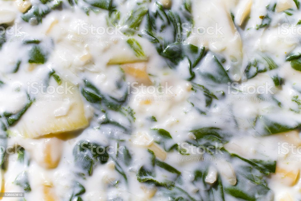 Spinach artichoke dip stock photo