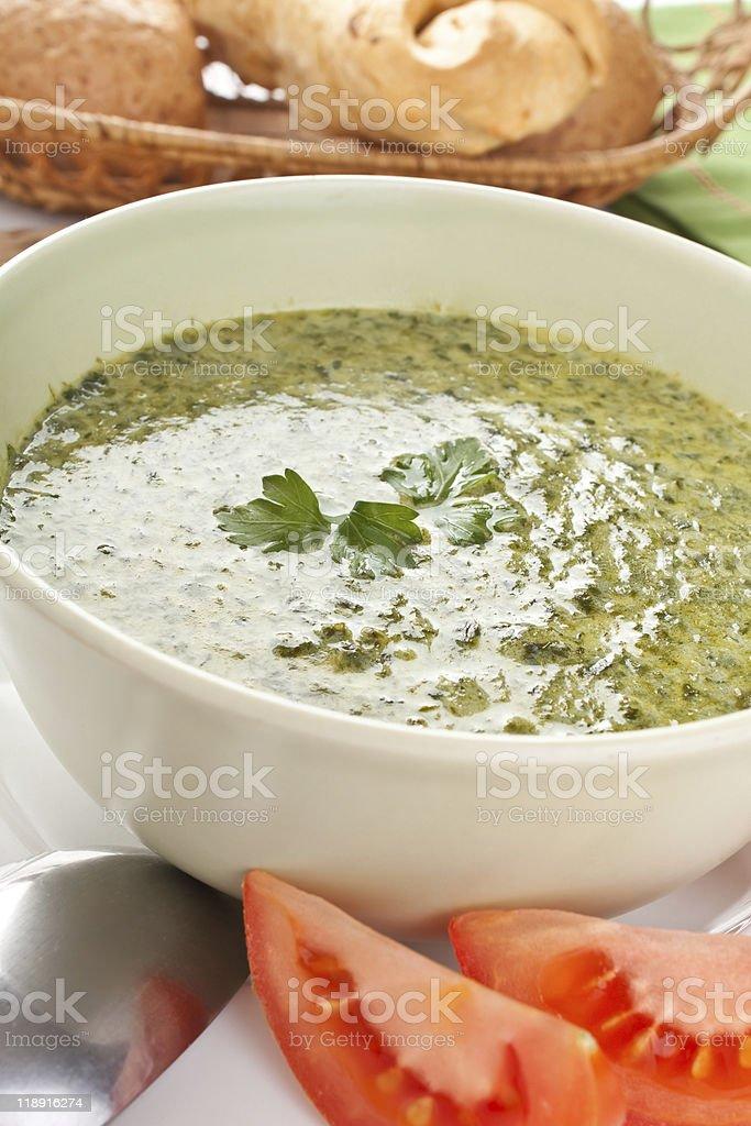 spinach cream soup stock photo