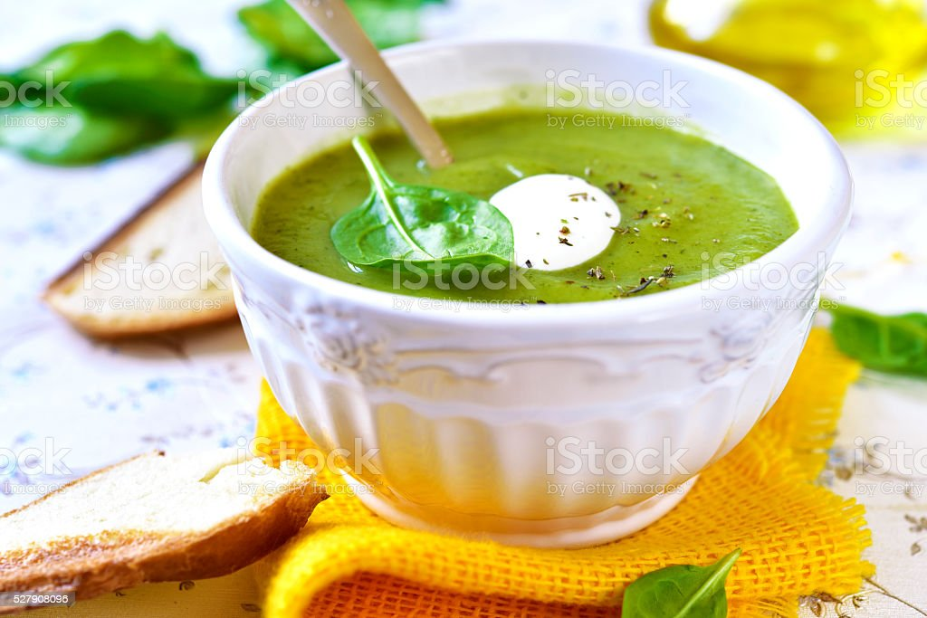 Spinach creamy soup. stock photo