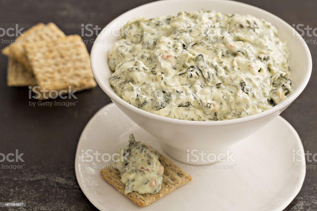 Spinach Dip And Crackers royalty-free stock photo