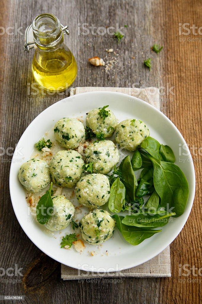 Spinach dumplings stock photo