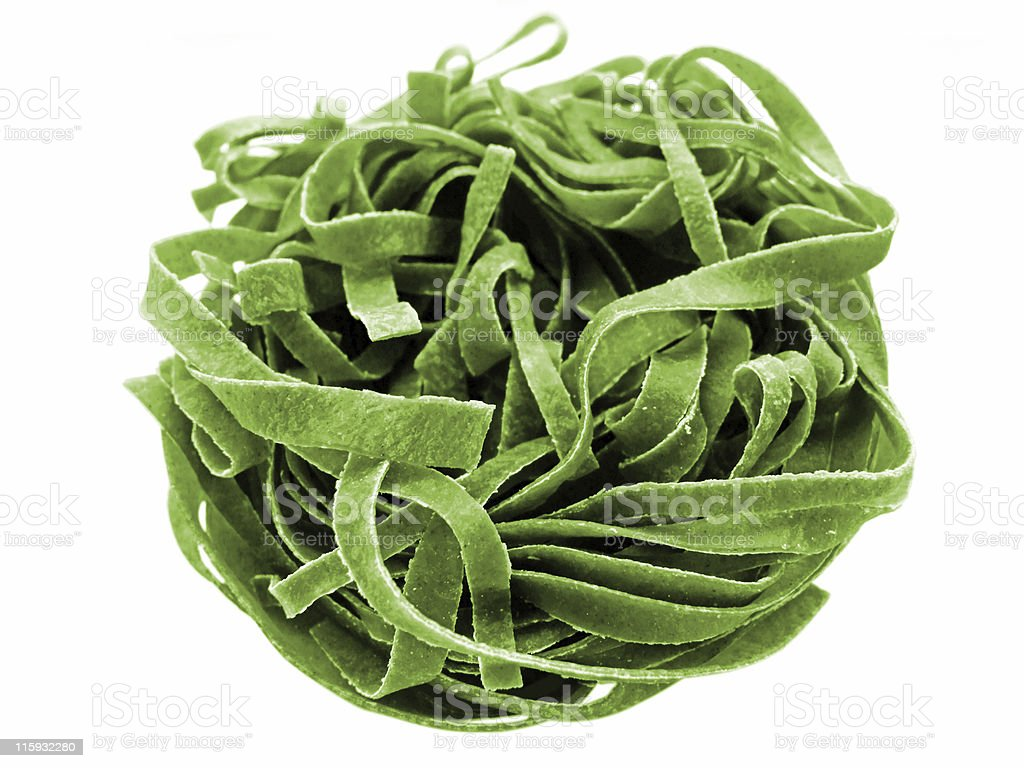 Spinach fettuccine pasta royalty-free stock photo