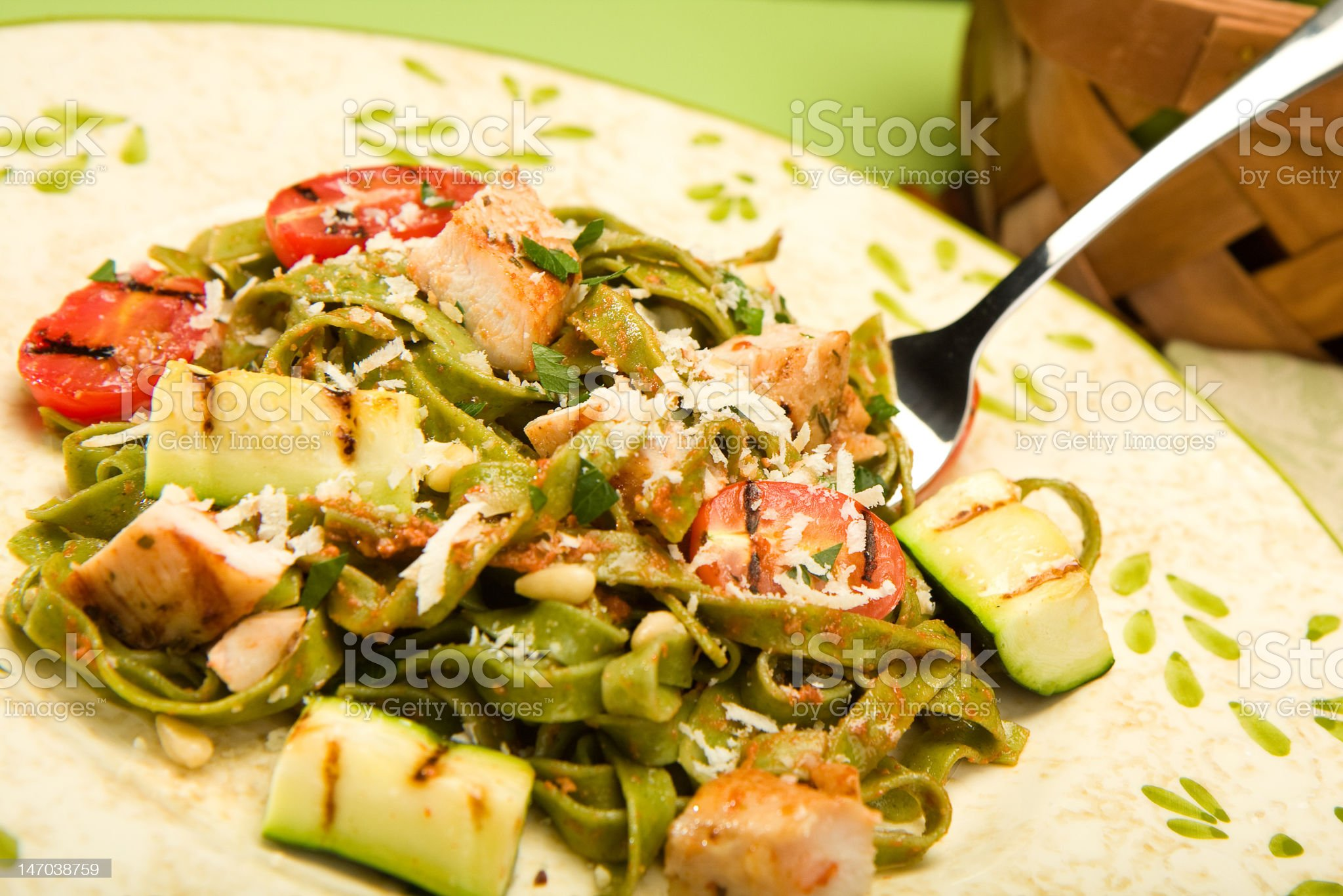 Spinach Fettucini with chicken and grilled Vegetables royalty-free stock photo